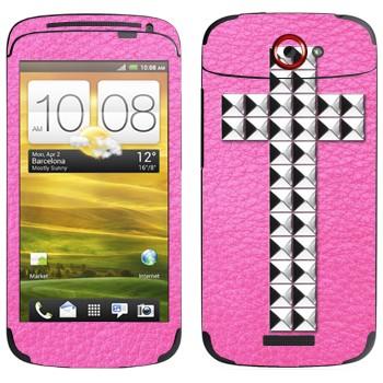 Виниловая наклейка «Крест серебряными заклепками на розовом» на телефон HTC One S