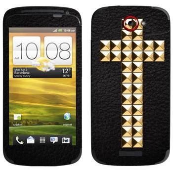 Виниловая наклейка «Крест золотыми заклепками» на телефон HTC One S