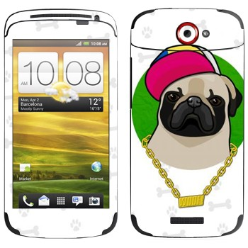 Виниловая наклейка «Мопс - SWAG» на телефон HTC One S