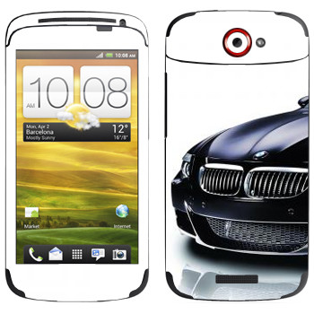 Виниловая наклейка «BMW черная» на телефон HTC One S