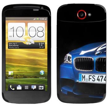 Виниловая наклейка «BMW синяя» на телефон HTC One S