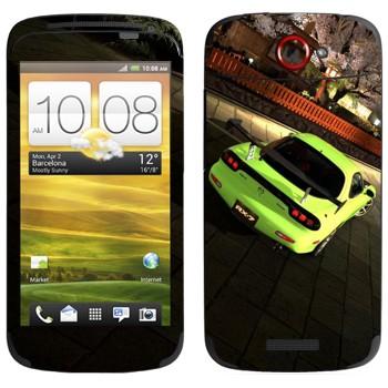 Виниловая наклейка «Mazda RX-7 кислотно-зеленого цвета» на телефон HTC One S