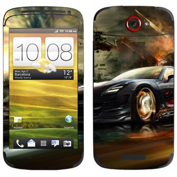 Виниловая наклейка «Nissan GTR в движении» на телефон HTC One S
