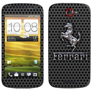 Виниловая наклейка «Эмблема Ferrari из металла» на телефон HTC One S