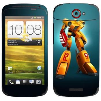 Виниловая наклейка «Желтый шагающий робот» на телефон HTC One S