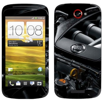 Виниловая наклейка «Логотип Nissan на двигателе» на телефон HTC One S