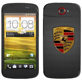 Виниловая наклейка «Логотип Porsche на карбоне» на телефон HTC One S