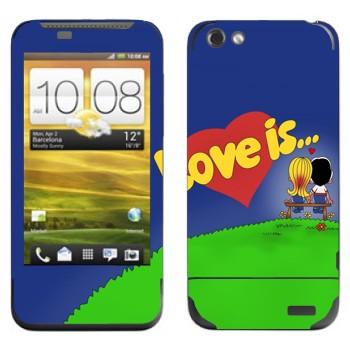Виниловая наклейка «Love is... - День Святого Валентина» на телефон HTC One V