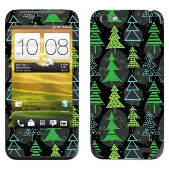 Виниловая наклейка «Новогодние деревья узор» на телефон HTC One V