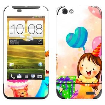 Виниловая наклейка «Принимаем подарки в день рождения» на телефон HTC One V