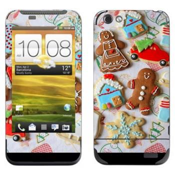 Виниловая наклейка «Рождественские печеньки» на телефон HTC One V