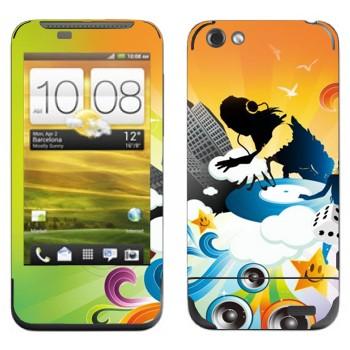 Виниловая наклейка «DJ за работой» на телефон HTC One V