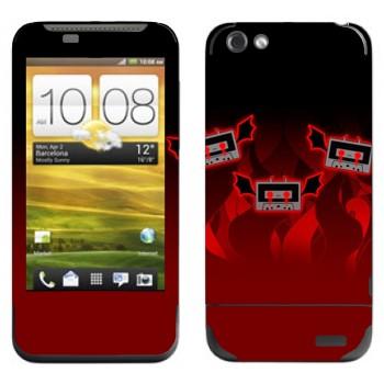 Виниловая наклейка «Аудио-кассеты-дьяволята» на телефон HTC One V