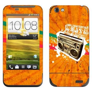 Виниловая наклейка «Бумбокс на оранжевом фоне» на телефон HTC One V