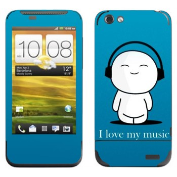 Виниловая наклейка «Человечек в наушниках» на телефон HTC One V