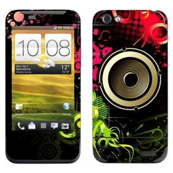 Виниловая наклейка «Динамик в ярких цветах» на телефон HTC One V