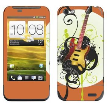Виниловая наклейка «Электрогитара желтая» на телефон HTC One V