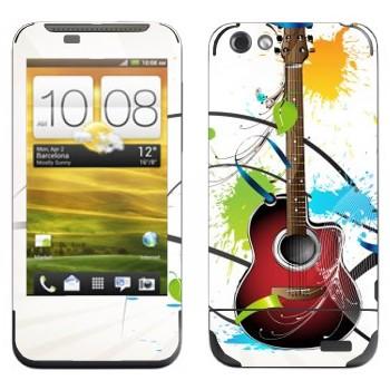 Виниловая наклейка «Гитара и пятна краски» на телефон HTC One V