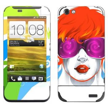 Виниловая наклейка «Красочная девушка» на телефон HTC One V