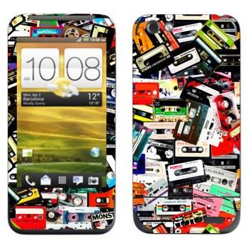 Виниловая наклейка «Много аудио-кассет» на телефон HTC One V