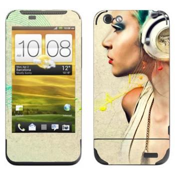 Виниловая наклейка «Музыка в наушниках» на телефон HTC One V