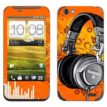 Виниловая наклейка «Наушники большие» на телефон HTC One V