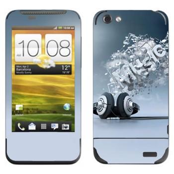 Виниловая наклейка «Наушники и надпись Music» на телефон HTC One V