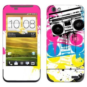 Виниловая наклейка «Разноцветные магнитофоны» на телефон HTC One V