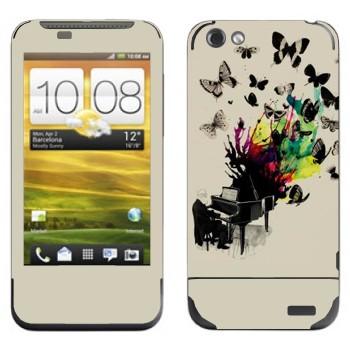Виниловая наклейка «Рояль с бабочками» на телефон HTC One V