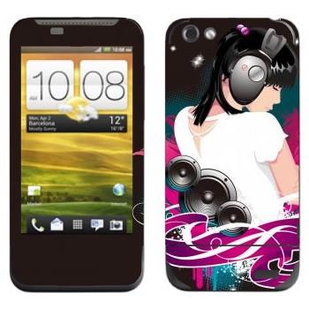 Виниловая наклейка «С музыкой по жизни» на телефон HTC One V