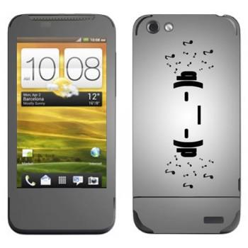 Виниловая наклейка «Смайлик в наушниках» на телефон HTC One V