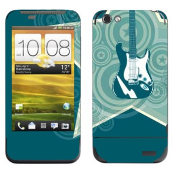 Виниловая наклейка «Звездная электрогитара» на телефон HTC One V
