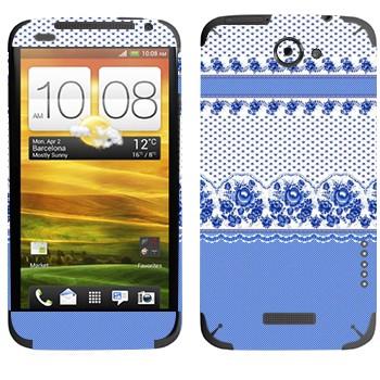 Виниловая наклейка «Гжельский узор» на телефон HTC One X