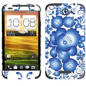 Виниловая наклейка «Голубой цветок колокольчик - Гжель» на телефон HTC One X