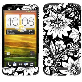 Виниловая наклейка «Хохлома черно-белые цветы» на телефон HTC One X