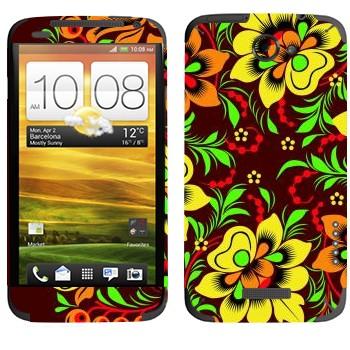 Виниловая наклейка «Хохлома желтый цветок» на телефон HTC One X