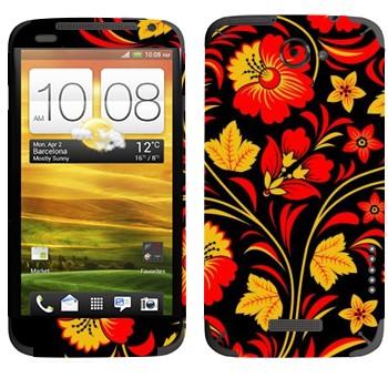 Виниловая наклейка «Хохлома красные цветы на черном» на телефон HTC One X