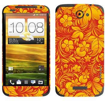 Виниловая наклейка «Хохлома оранжевый цветок» на телефон HTC One X