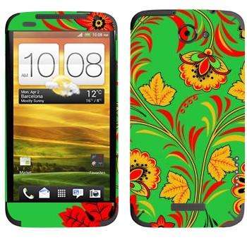 Виниловая наклейка «Хохлома осенние цветы» на телефон HTC One X