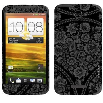 Виниловая наклейка «Хохлома серая на черном фоне» на телефон HTC One X
