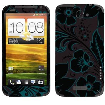 Виниловая наклейка «Хохлома темный цветок» на телефон HTC One X