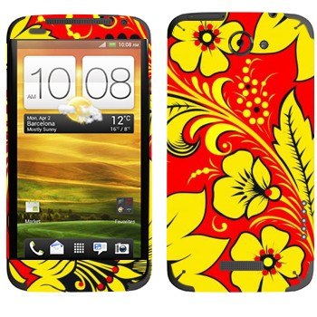 Виниловая наклейка «Хохлома ярко-желтый цветок» на телефон HTC One X