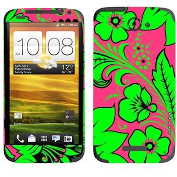 Виниловая наклейка «Хохлома ярко-зеленый цветок» на телефон HTC One X
