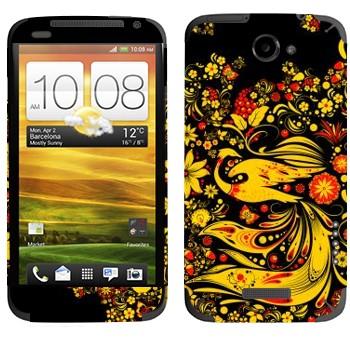 Виниловая наклейка «Хохлома Жар-птица» на телефон HTC One X