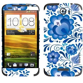 Виниловая наклейка «Хохлома голубой цветок - Гжель» на телефон HTC One X