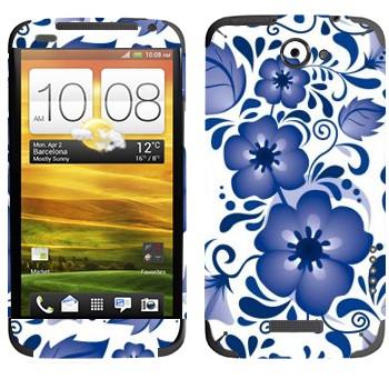 Виниловая наклейка «Крупный цветок пятилистник - Гжель» на телефон HTC One X