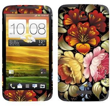 Виниловая наклейка «Роспись цветочная» на телефон HTC One X