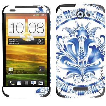 Виниловая наклейка «Цветок гжель» на телефон HTC One X