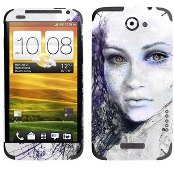 Виниловая наклейка «Девушка карандашом» на телефон HTC One X
