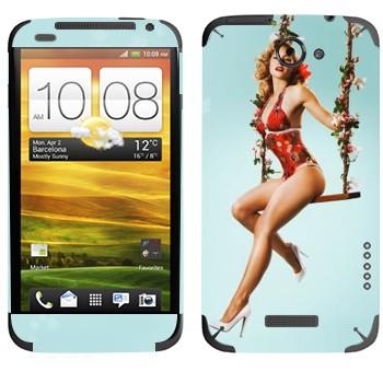 Виниловая наклейка «Девушка на качелях» на телефон HTC One X